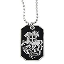 Masonic Exchange Christian Templar St. George Slaying Dragon Dog Tag Pendant Necklace