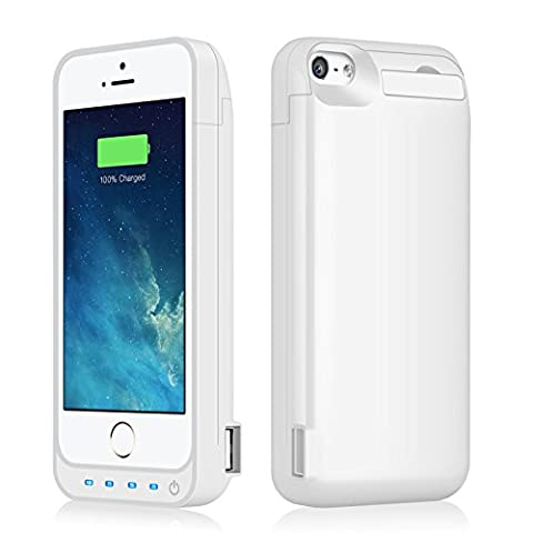 iPhone 5/5S/5C/SE Battery Case iPosible 4500mAh External Rechargeable Battery Case for iPhone 5/5S/5C/SE Charging Case Power Juice Bank Battery Pack-White [24 Month (A Charging Iphone 5 Case)