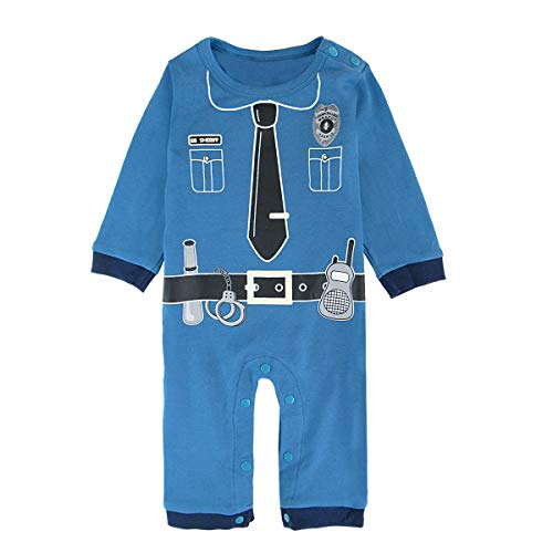 Cosland Baby Boys' Halloween Costume Police Romper Long Sleeve(Police, 3-6 Months)