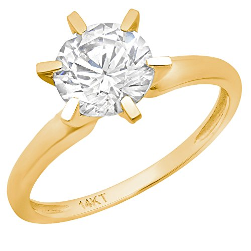 Clara Pucci 2.0 CT Brilliant Round Cut Simulated Diamond CZ Solitaire Engagement Wedding Ring Solid 14k Yellow Gold, Size 5 ()