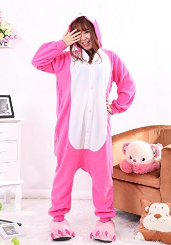 Joygown Unisexe En Peluche Un Morceau Halloween Costume Pyjama Cosplay Animal Adulte Fuchsia Lapin