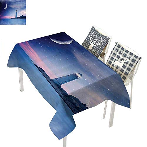 Lighthouse Decor Collection Dinning Table Covers Lighthouse at Night Oceanic Space and Stars Moon Smock Fantasy Magical ViewNavy Blue Gray Rectangular Tablecloth W52 xL70 inch ()