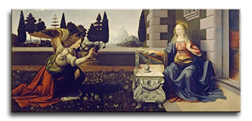 Niwo Art (TM - The Annunciation, by Leonardo Davinci, Oil Painting Reproduction - Giclee Wall Art for Home Decor, Gallery Wrapped, Stretched, Framed Ready to Hang (24