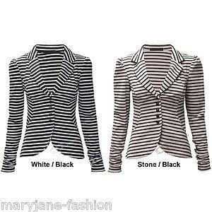 7db552b2b0d66 Womens Ladies Monochrome Horizontal Striped Button Up Casual Collar Blazer  Jacket Stone / Black UK 14: Amazon.co.uk: Clothing