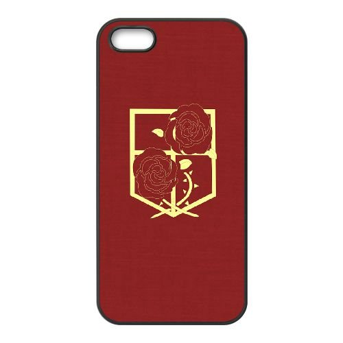 Attack On Titan 004 coque iPhone 4 4S cellulaire cas coque de téléphone cas téléphone cellulaire noir couvercle EEEXLKNBC23154