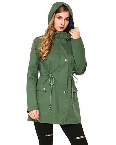Mixfeer Women's Multifunction Anorak Parka Hoodie Drawstring Jacket Pockets