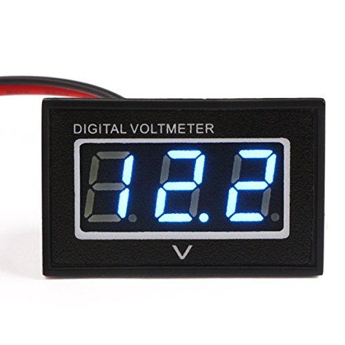 Battery Voltage Monitor (GEREE Waterproof LED Digital Voltmeter 0.40'' DC 3-30V Voltage Meter Gauge Panel 12V/24V Volt Tester Power Monitor with 2 Wires Blue Digital Display for Solar Panel Car Auto Battery Monitoring)