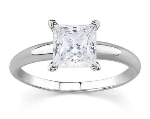 3/8 Carat Princess Diamond Solitaire Ring in 14K White Gold ()