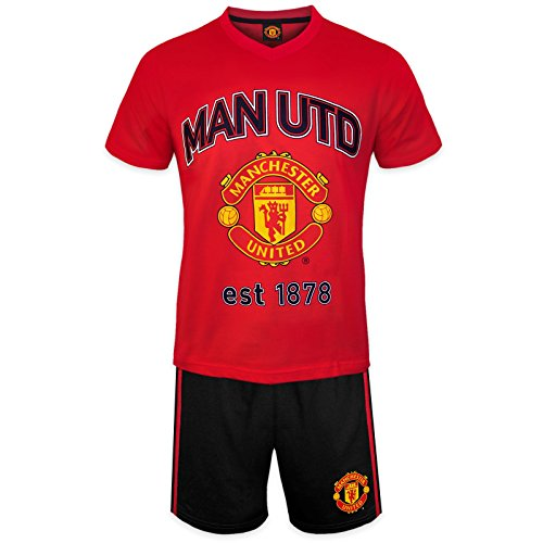 Manchester United FC Official Soccer Gift Mens Loungewear Short Pajamas Large