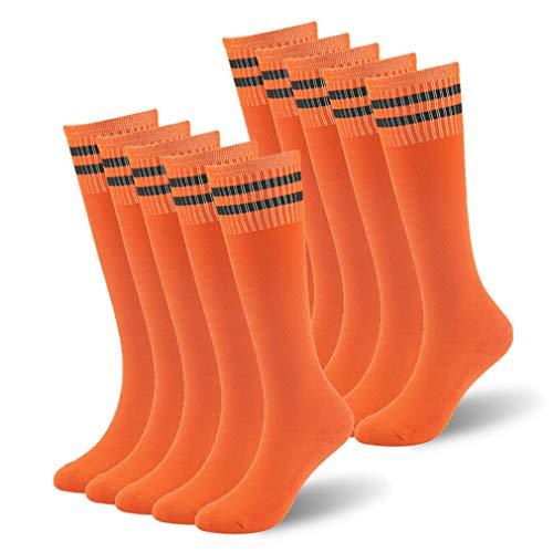 Youth Football Socks, saillsen Boys Double Stripe Athletic Over the Calf Knee High Sports Soccer Team Tube Socks, 10 Pairs, Orange