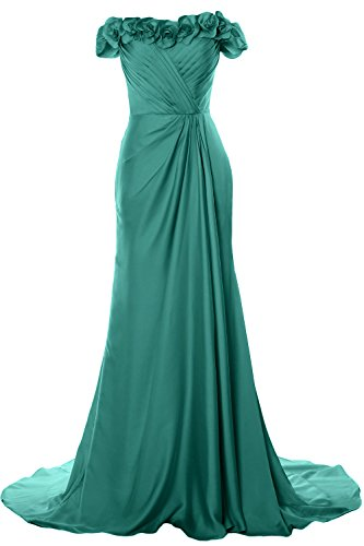 2018 Evening Gown with Turquoise Flowers MACloth Women Prom Dress Formal Shoulder Off Long qPHwR