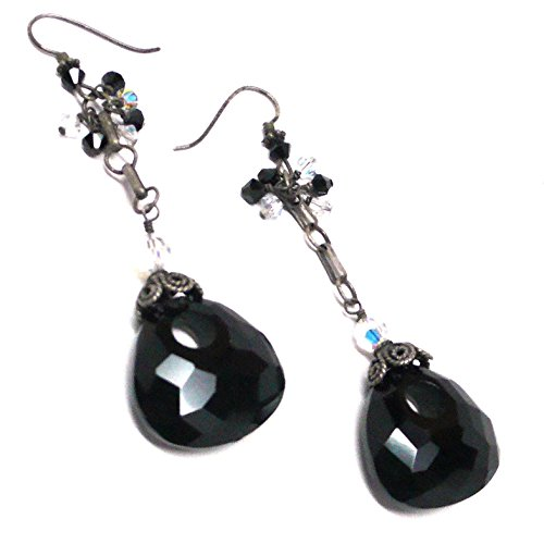Chunky Faceted Keyhole Pear Black Agate Oxidized Sterling Silver Earrings