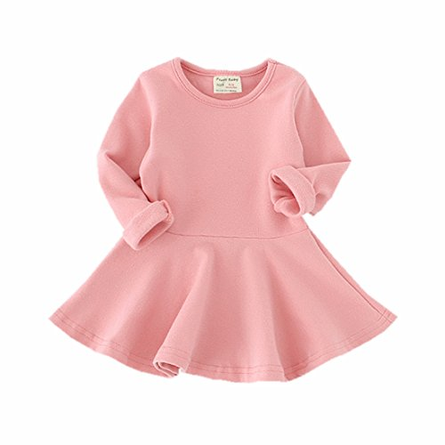 Infant Toddler Baby Girls Dress Cozy Ruffles Long Sleeves Cotton (12-18m(86), Pink)]()