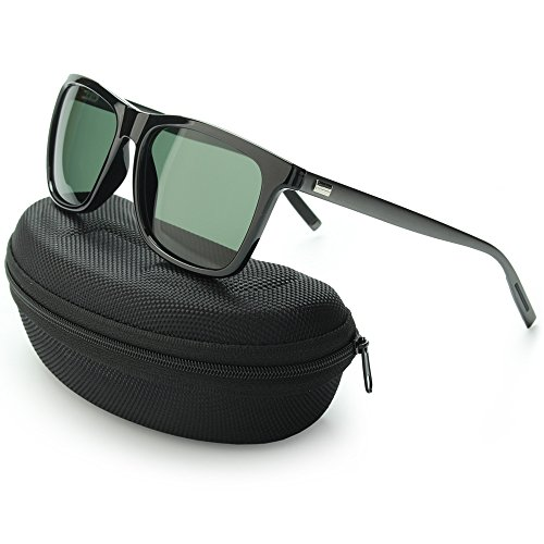 IALUKU Wayfarer Sunglasses Polarized Women Men Mirrored UV400 Full Frame (Black / Green, 60) (Sunglasses For Women Polarised)
