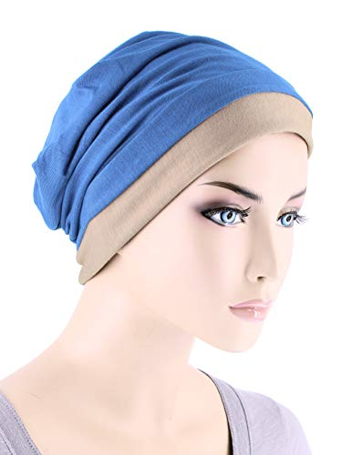 - Lux Ultra Soft Bamboo Chemo Hat Reversible Beanie Cancer Cap Turban Periwinkle Beige