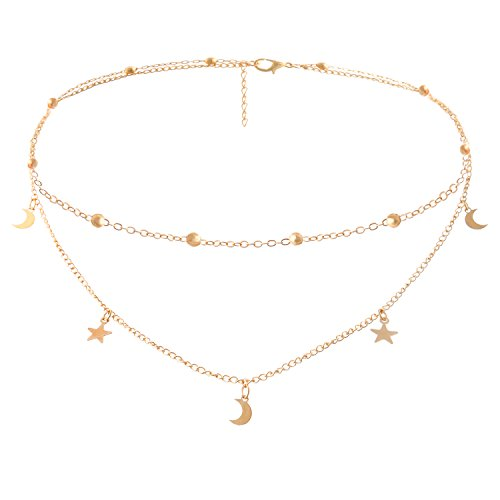 BaubleStar Fashion Layering Star Moon Charm Pendant Tassel Necklace Gold Chain Choker Collar Multi Layered Statement Jewelry for Women Girls ()