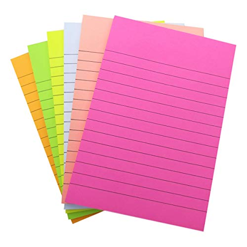 Creatiburg Sticky Note Pads Lined 4 x 6 inch Ruled Self-Stick Note Pads Bright Color 6 Pads 50 Sheets per Pad, Easy Post Notes Individually Wrapped, Great Office Supplies School Supplies