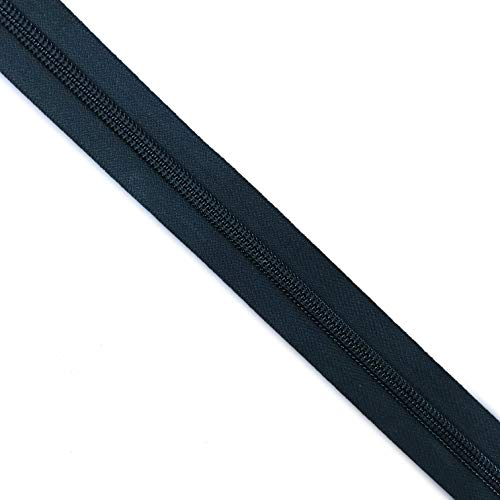 (YKK #8 Nylon Coil Zipper Tape Black - by The Yard)