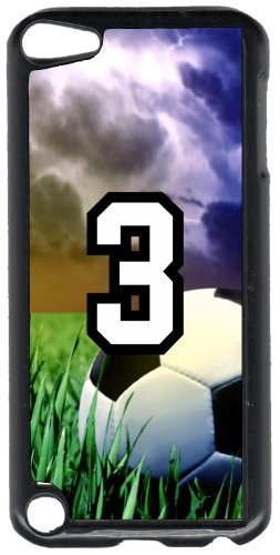 iPod Touch Case Fits 6th Generation or 5th Generation Soccer Ball #0100 Choose Any Player Jersey Number 3 in Black Plastic Customizable by TYD Designs