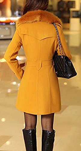 otoño de Mujer Chaqueta de invierno Yellow elegante las abrigo la de Outwear Abrigo piel Parka sintética mujeres botonadura doble con largo lana cinturón OFnrx7qO