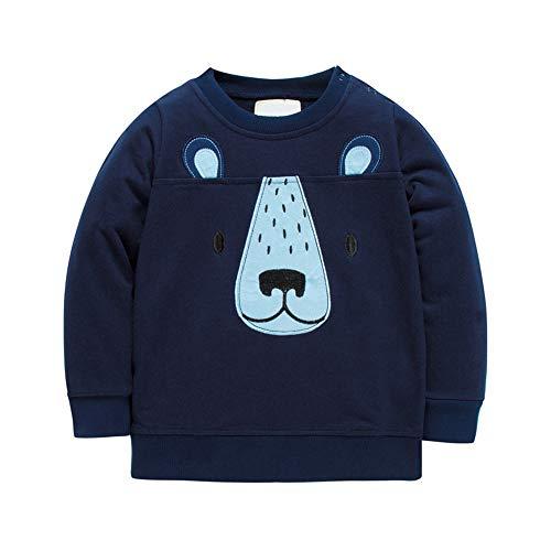 HUAER& Baby Boy's Crewneck Cotton Long Sleeve Sweatershirt (2T(Height:35inch/90cm), Dark Blue & Bear)