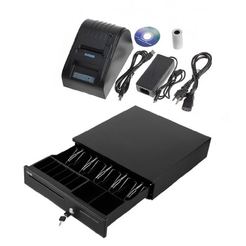 2xhome - heavy duty cash drawer with POS thermal printer 58mm paper rolls for retail business restaurant store office