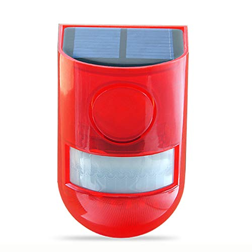 Solar Strobe Lights Motion Sensor Security Alarm 6LED Light Loud Siren for Personal Farm Villa Apartment Outdoor Yard, Easy to Install, Wireless, One Charge Can Work for 30 Days