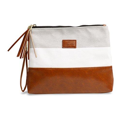 ({Madi Collection} Wristlet Wallet Clutch Bag - Phone Purse Handbag - Small, Medium, Large Size - Gray & White Stripe Style, Vegan Bottom Urban- Funky Monkey Fashion (Large))