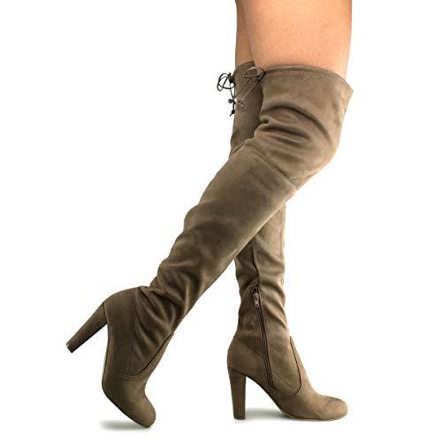 Premier Standard Women's Over The Knee Boot - Sexy Over The Knee Pullon Boot - Trendy Low Block Heel Shoe - Comfortable Boot Taupe Su