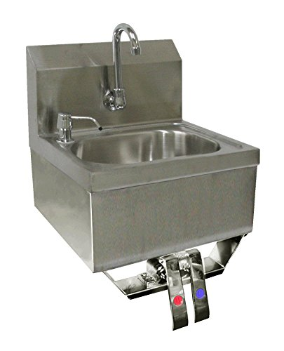 ACE Stainless Steel Wall Mount Hand Sink 16'' x 15'' with Knee Operated Valve and Lead Free Faucet by ACE