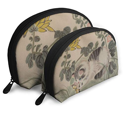 Makeup Bag Chinese Cat Art Portable Shell Cosmetic Bags For Girls Halloween Gift 2 Piece -