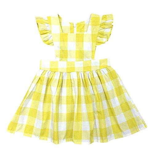 Girls Dress Polka Dot Poodle (Goodlock Girls Dress, Toddler Kids Baby Girls Summer Plaid Dress Ruffles Sleeve Sun Dress (Yellow, Size:5T))