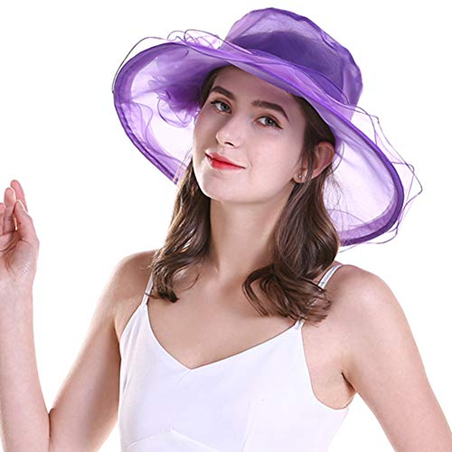 (EMWM Women's Purple Organza Hat Wedding Dress Violet Tea Party Bridal Cap Race Church Derby Fancy Ball Hat Unique Summer Beach Sunhat Ruffled with Big Bow Gift for Girls Women Purple)