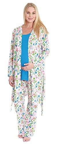 Baby Be Mine Women's Maternity Nursing Pajama & Robe Set (X Large pre pregnancy 16-18, Emma)