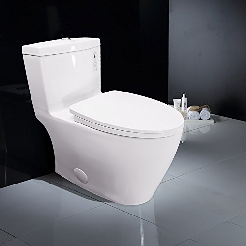 WinZo WZ5028 Dual Cyclone Elongated ADA One Piece Toilet with Soft Closing Seat, Comfort Height, Water Sense, High-Efficiency,No (One Piece Elongated Toilet)