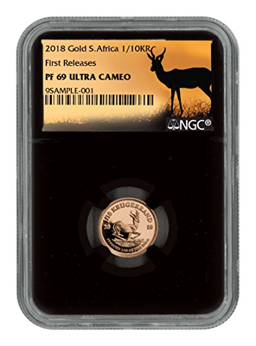 2018 ZA 1/10 oz Gold Proof Coin UC FR Black Core Holder E 0.10 Krugerrand PF69 NGC ()