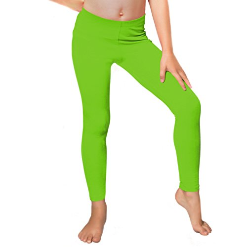Stretch is Comfort Girl's Cotton Footless Leggings Lime Green Medium -