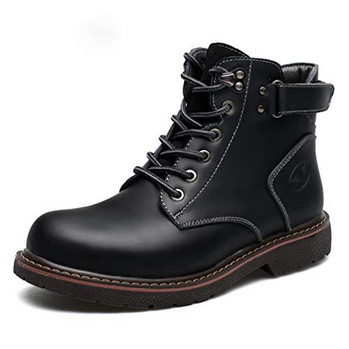 Velcro Stivali inverno Metal Block suola Nero In Scarpe Cuciture Auto Heel Lacci Gomma Uomo Feidaeu Autunno Pizzo 8OwxAA