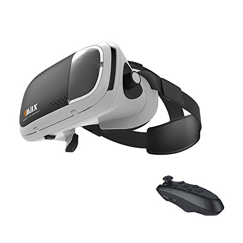 """RITECH VMAX 3D VR Glasses Virtual Reality Headset for 4.7-6.0 """" Inches Mobile Phones with Bluetooth Remote Cotroller for Samsung Galaxy S8"""