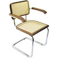 Marcel Breuer Cesca Cane Chrome Arm Chair in Walnut