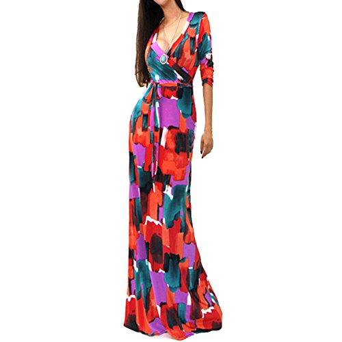 Womens Maxi Long Dress Deep V Neck Party Dress 3/4 Sleeve Wrap Dress Evening Dress (3/4 Sleeve Cotton Wrap)