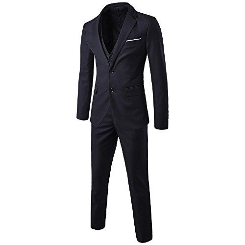 TALITARE Men's 2 Button Single Breasted Slim Fit 3-Piece Suit Party Blazer Business Vest Casual Pants Black XL