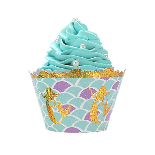 (Hekoy 24pcs Mermaid Cupcake Wrappers Party Cupcake Decorations Supplies for Wedding Kids Birthday Baby)