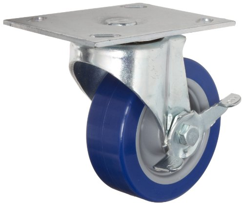 E.R. Wagner Plate Caster, Swivel with Pinch Brake, Polyurethane on Polyolefin Wheel, Delrin Bearing, 280 lbs Capacity, 5