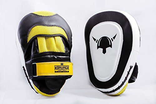 MMA Boxing Punching Mitts - 2 Curved Focus Pads Best for Hook n Jab Training Sparring - Great Punch Target Mitts for Adults and Kids who practice Martial Arts - Boxing MMA Muay Thai Kickboxing Karate