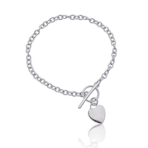 Bracelet Sterling Beaded Silver Toggle - Sterling Silver Rhodium Heart Charm Toggle Bracelet
