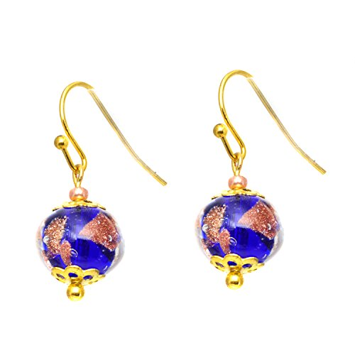 Just Give Me Jewels Genuine Venice Murano Sommerso Aventurina Glass Single Bead Dangle Earrings - Blue (Just Give Me Jewels)