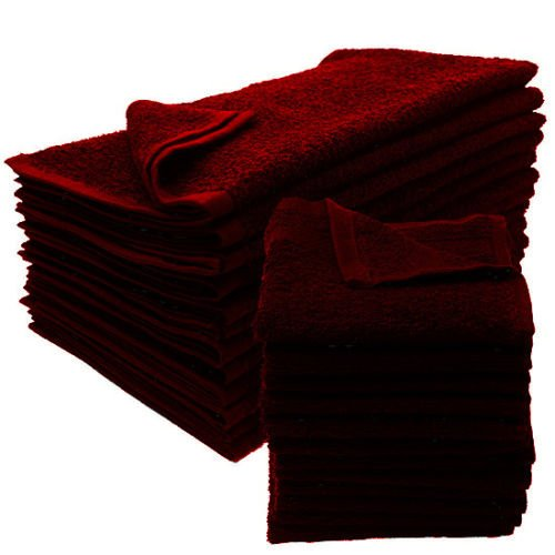 GT 12 NEW BURGUNDY SALON TOWELS DOBBY PREMIUM RINGSPUN HAND TOWELS 16X27 3. 5LB