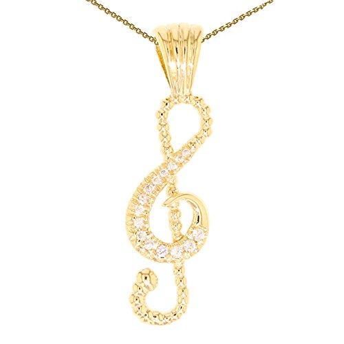 14k Yellow Gold Diamond Musical Keynote Symbol Pendant Necklace, (Yellow Gold Musical Notes)