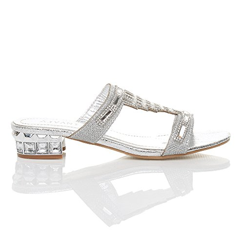 Argento matrimonio sandali infradito gemma Donna ciabatte tacco sera taglia basso strass pqxTvPF
